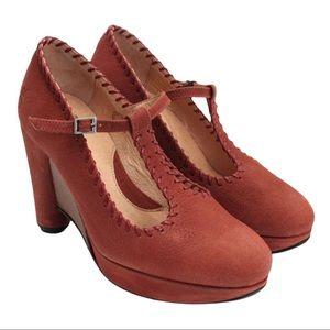 John Fluvog Gertrude Rust Leather Mary Jane Wedge Heels Size 8